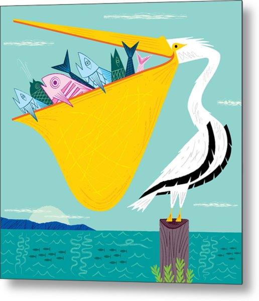 The Greedy Pelican Metal Print