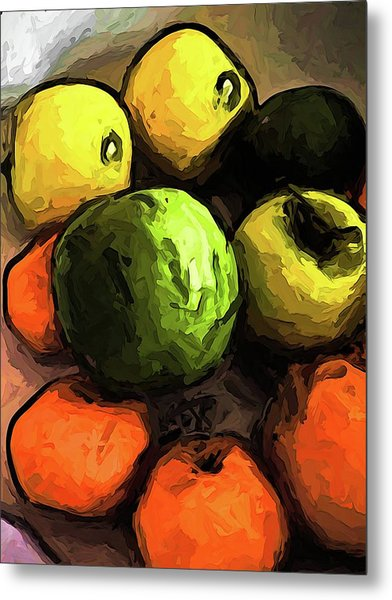 The Green And Gold Apples With The Orange Mandarins Metal Print