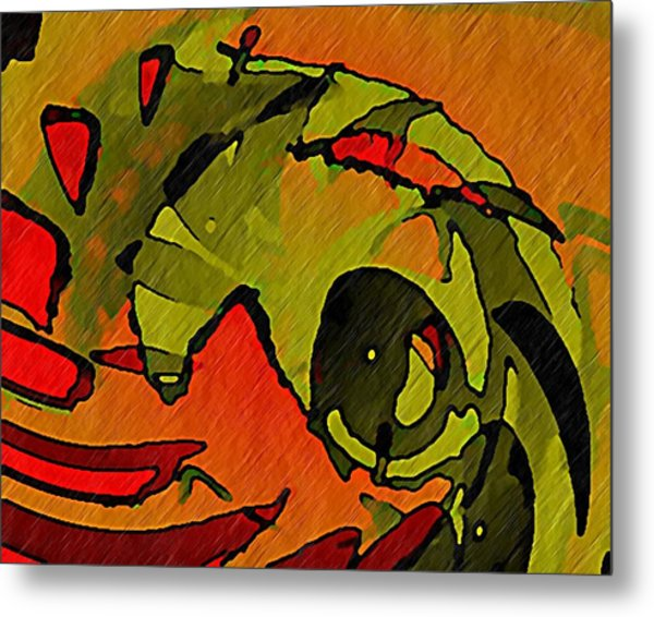 The Green Iguana Metal Print by Terry Mulligan