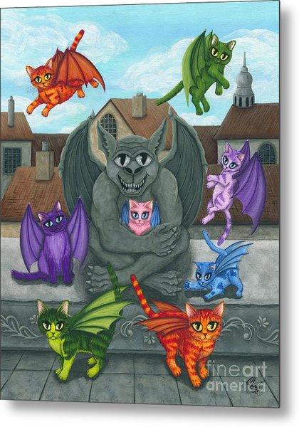 The Guardian Gargoyle Aka The Kitten Sitter Metal Print