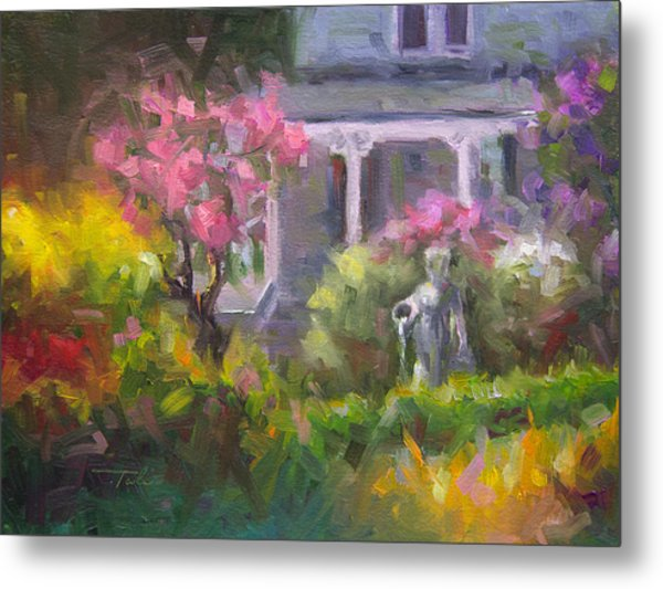 The Guardian - Plein Air Lilac Garden Metal Print