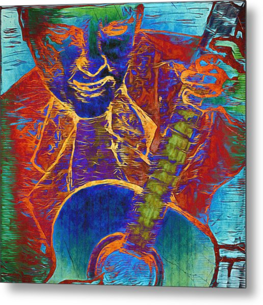 The Guitar Man - Two Metal Print
