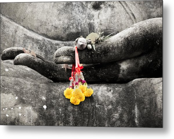 Metal Print featuring the photograph The Hand Of Buddha by Adrian Evans