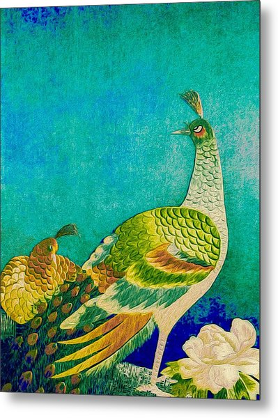 Metal Print featuring the tapestry - textile The Handsome Peacock - Kimono Series by Susan Maxwell Schmidt