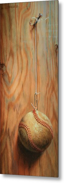 The Hanging Baseball Metal Print