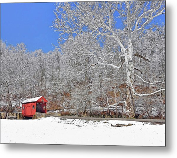 The Henry Bridge After A Late Winter Snow Metal Print