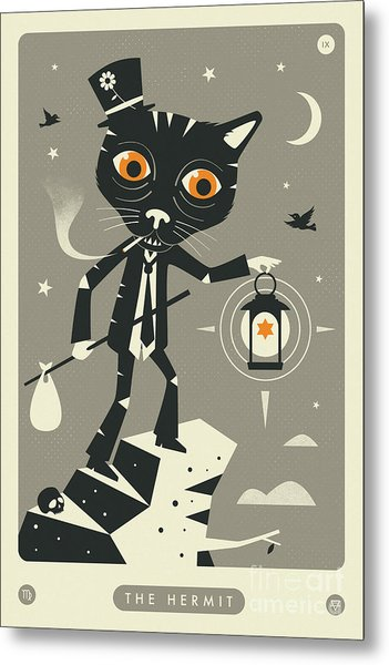 The Hermit Tarot Card Cat  Metal Print by Jazzberry Blue