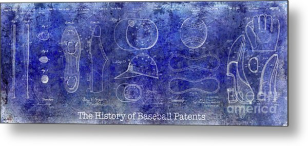 The History Of Baseball Patents Blue Metal Print