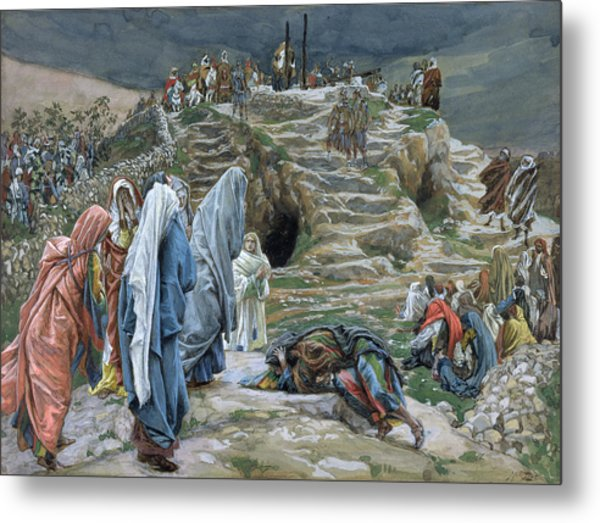 The Holy Women Stand Far Off Beholding What Is Done Metal Print