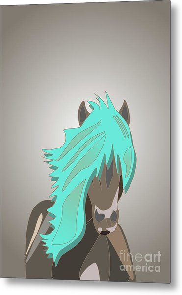 The Horse With The Turquoise Mane Metal Print
