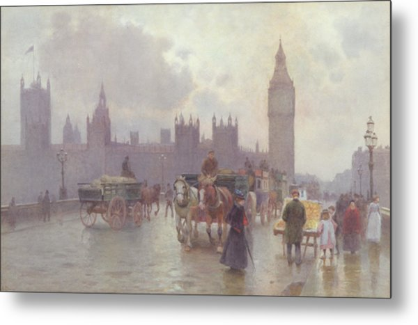 The Houses Of Parliament From Westminster Bridge Metal Print