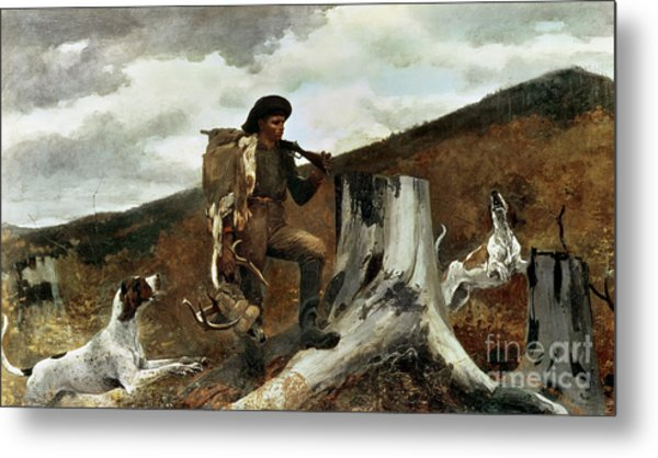 The Hunter And His Dogs Metal Print