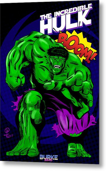 The Incredible Hulk Retro Style Metal Print by Joseph Burke