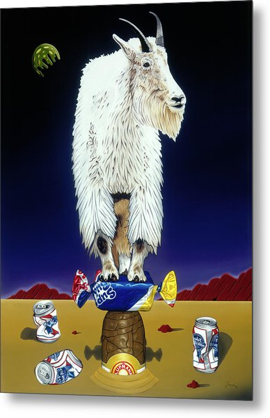 The Intoxicated Mountain Goat Metal Print