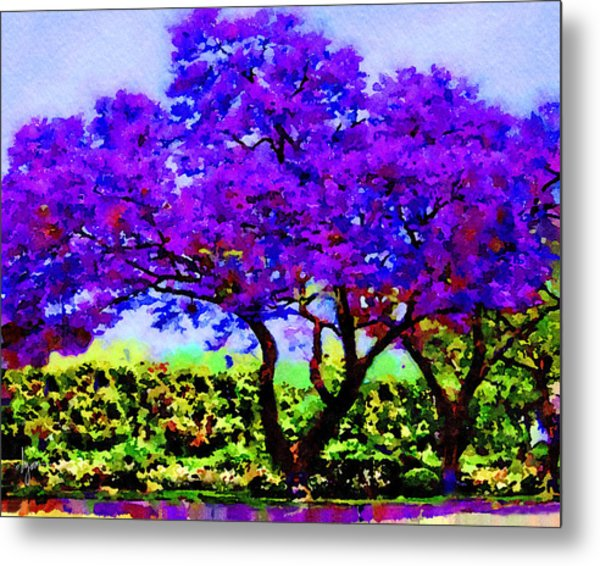 Metal Print featuring the painting The Jacaranda by Angela Treat Lyon