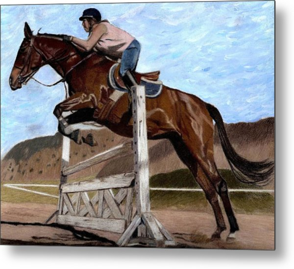 The Jumper - Horse And Rider Painting Metal Print
