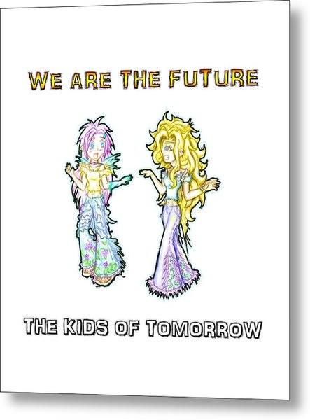 Metal Print featuring the painting The Kids Of Tomorrow Ariel And Darla by Shawn Dall