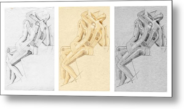 The Kiss - Triptych - Homage Rodin Metal Print