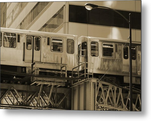 The L Downtown Chicago In Sepia Metal Print