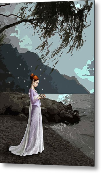 The Lady And The Kitty Metal Print