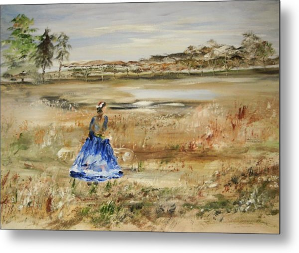 The Lady In Blue Metal Print by Edward Wolverton