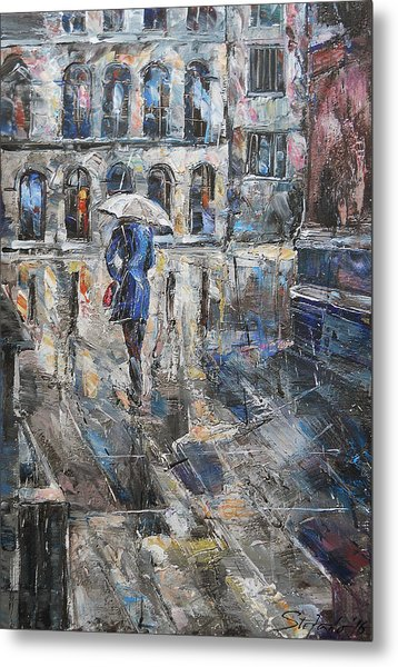 The Lady In Blue Metal Print