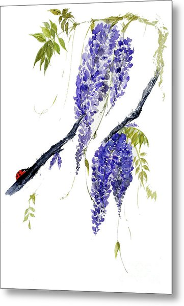 The Ladybird And The Wisteria Metal Print