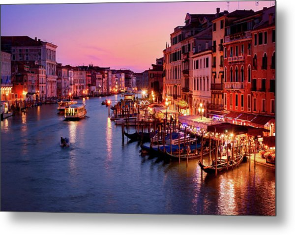 The Blue Hour From The Rialto Bridge In Venice, Italy Metal Print