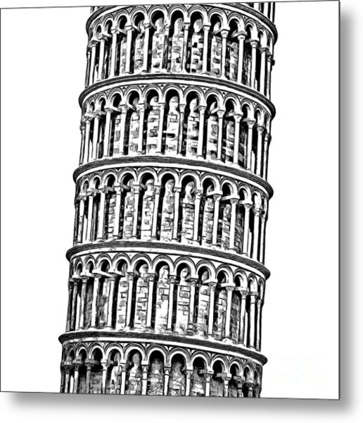 The Leaning Tower Of Pisa Graphic Metal Print