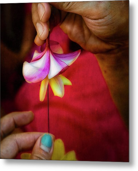 The Lei Maker's Hands Metal Print