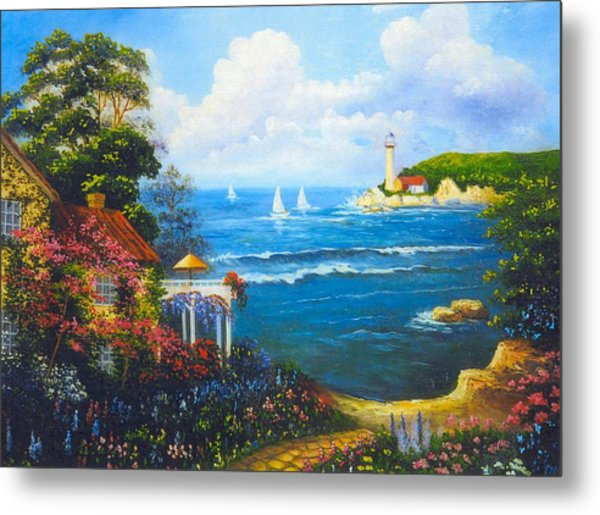 The Light House By The  Sea Metal Print by Jeanene Stein