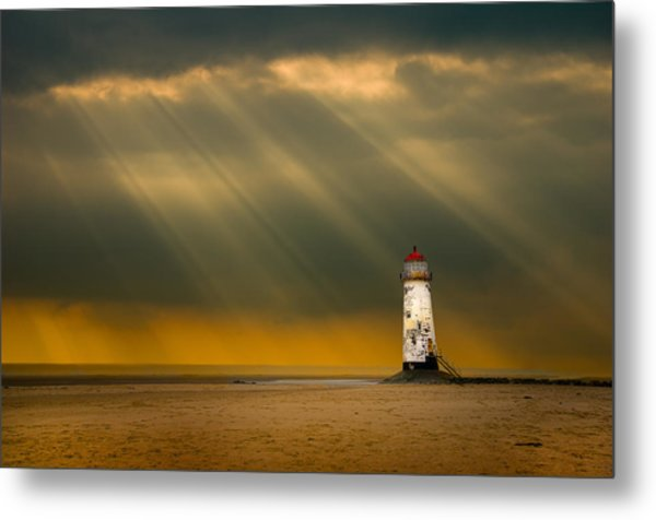 The Lighthouse As The Storm Breaks Metal Print