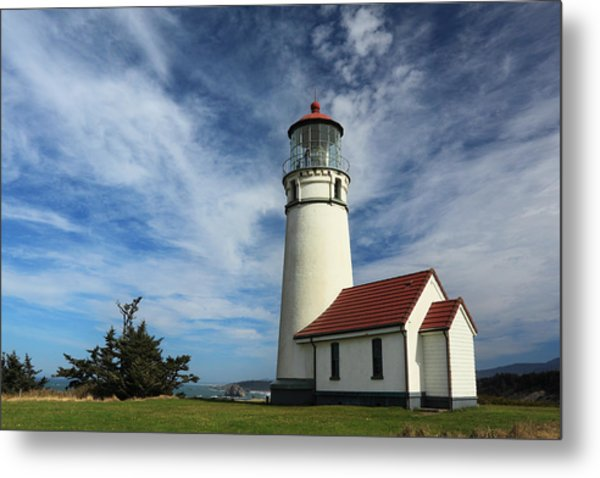 The Lighthouse At Cape Blanco Metal Print