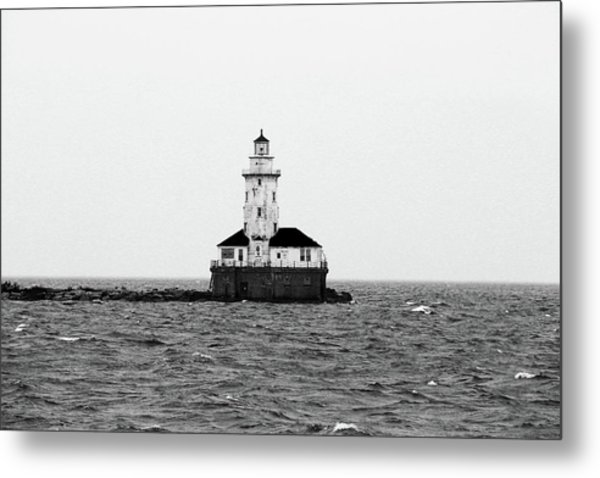The Lighthouse Black And White Metal Print