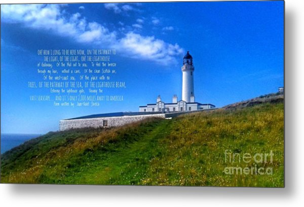 The Lighthouse On The Mull With Poem Metal Print