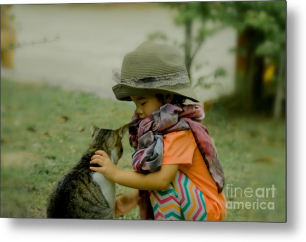 The Little Girl And Her Cat Metal Print