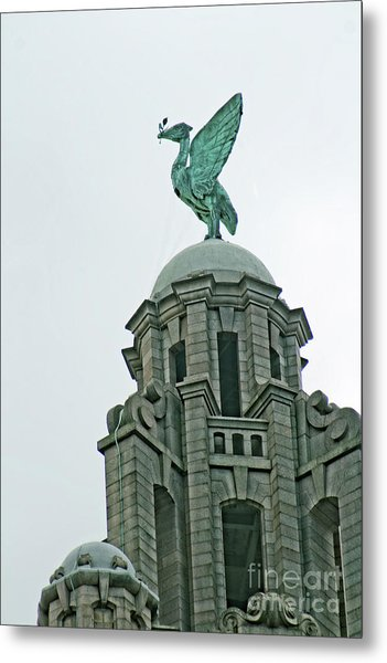 The Liver Building, With A Closeup Of One Of The Liver Birds. Metal Print