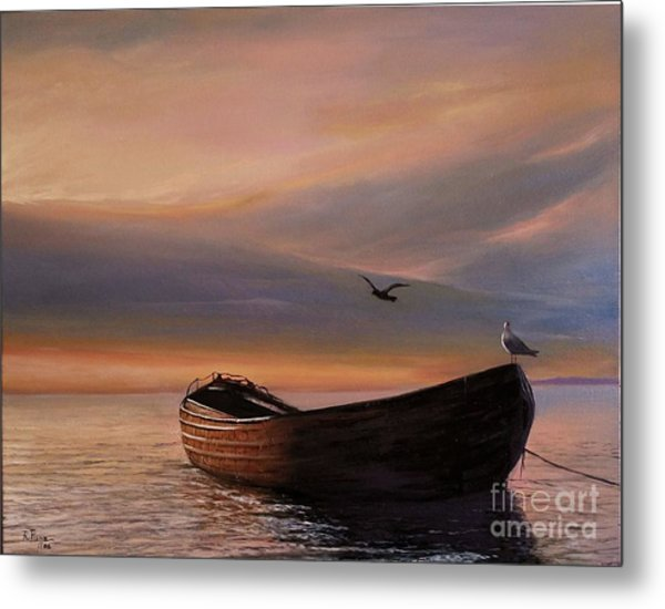 Metal Print featuring the painting A Lone Boat by Rosario Piazza