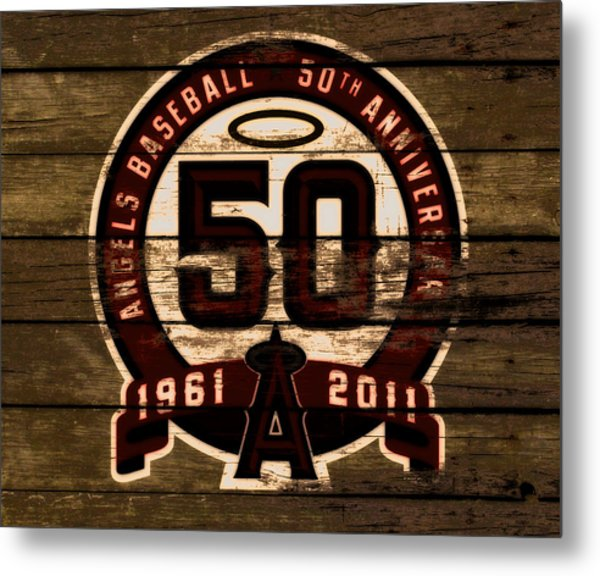 The Los Angeles Angels Of Anaheim 50 Years Of Angels Baseball 2a Metal Print