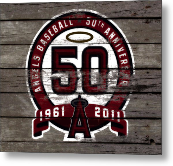 The Los Angeles Angels Of Anaheim 50 Years Of Angels Baseball Metal Print