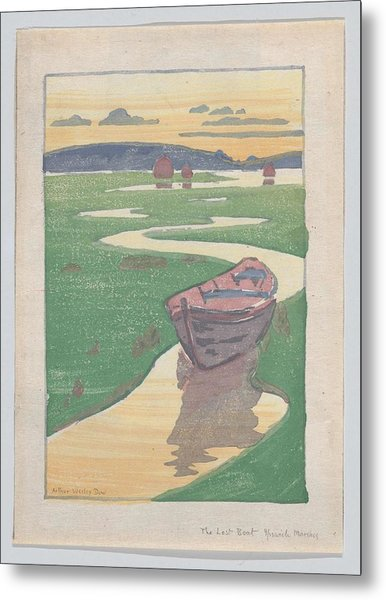 Metal Print featuring the painting The Lost Boat , Arthur Wesley Dow by Artistic Panda