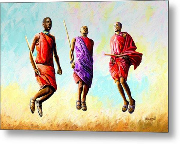 The Maasai Jump Metal Print