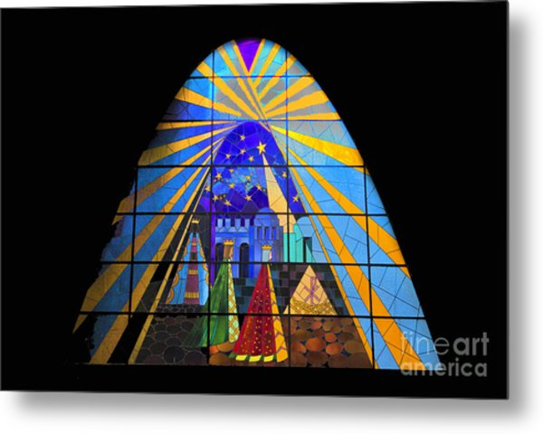 The Magi In Stained Glass - Giron Ecuador Metal Print