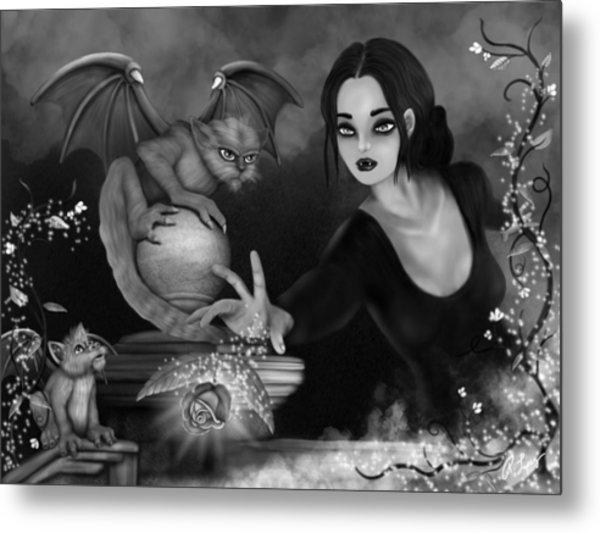 The Magic Rose - Black And White Fantasy Art Metal Print