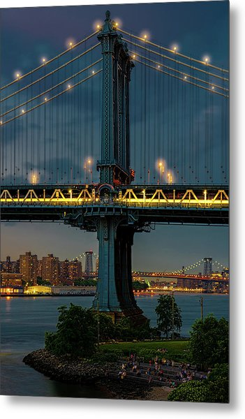 Metal Print featuring the photograph The Manhattan Bridge During Blue Hour by Chris Lord
