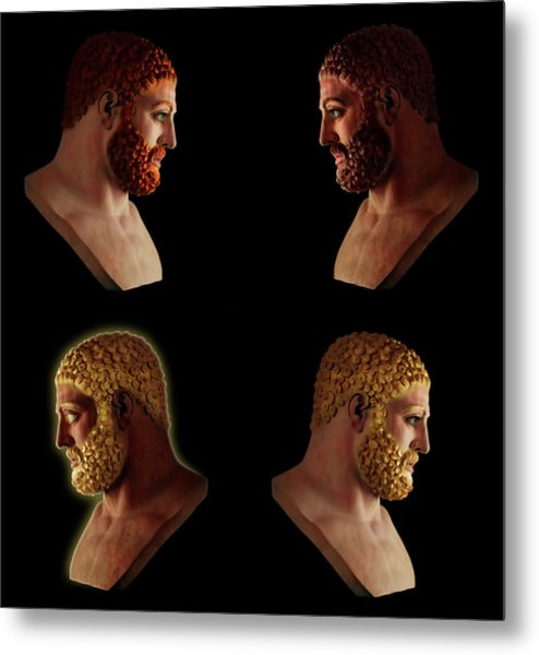 Metal Print featuring the mixed media The Many Faces Of Hercules 2 by Shawn Dall