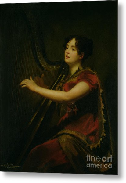 The Marchioness Of Northampton Playing A Harp Metal Print