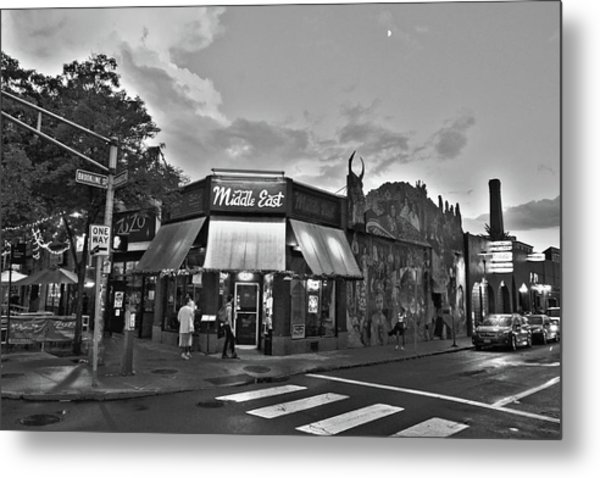 The Middle East In Central Square Cambridge Ma Black And White Metal Print