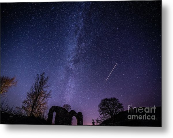 The Milky Way Over Strata Florida Abbey, Ceredigion Wales Uk Metal Print