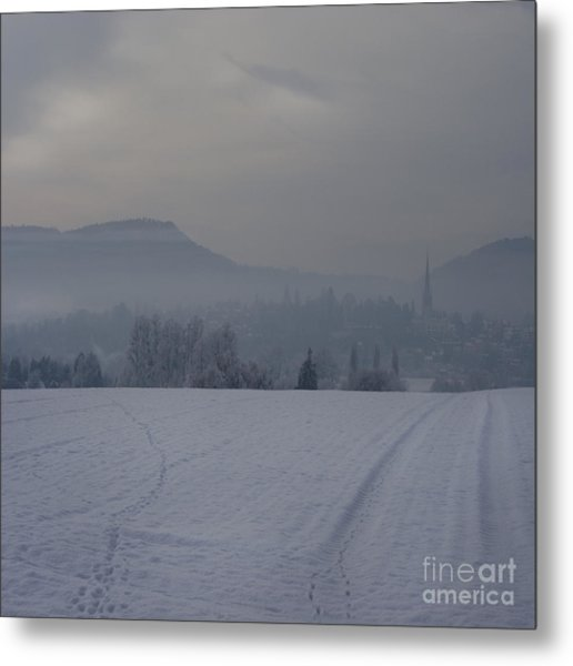 The Misty Wintery Afternoon Metal Print by Angel Ciesniarska